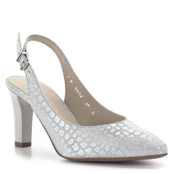Anis magassarkú elegáns alkalmi szandálcipő ezüst színben 2