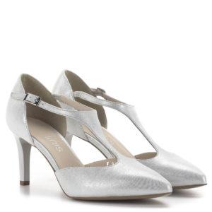 Anis pántos magassarkú alkalmi cipő ezüst színben, 7,5 cm-es sarokkal 1