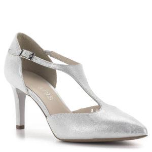 Anis pántos magassarkú alkalmi cipő ezüst színben, 7,5 cm-es sarokkal 2