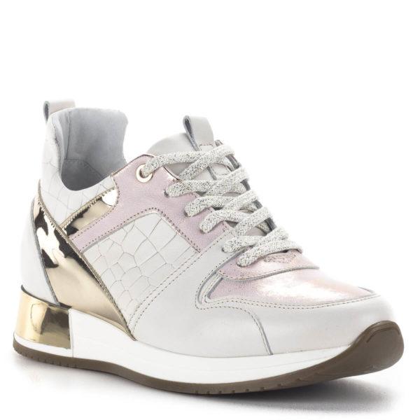 Carla Ricci fűzős női sneakers cipő lapos talppal, fehér színben 2