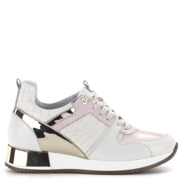 Carla Ricci fűzős női sneakers cipő lapos talppal, fehér színben 3