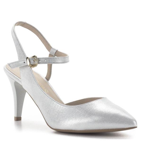 Anis magassarkú pántos szandálcipő ezüst színben 2