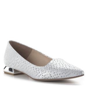 Carla Ricci lapos női alkalmi cipő ezüst színben, különleges sarokkal 2