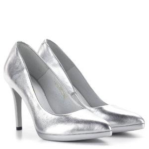 Carla Ricci platformos női magassarkú cipő ezüst színben 1