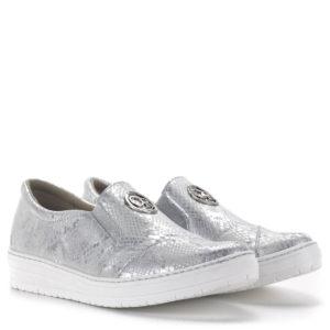 Carla Ricci női slipon cipő gumi talppal, ezüst színben, bőrből 1