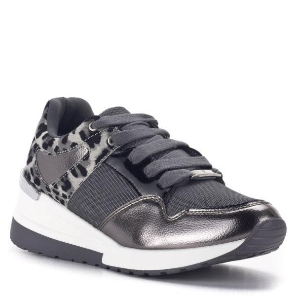Szürke Menbur női sneakers emelt sarokkal. Fűzős platformos tornacipő 2