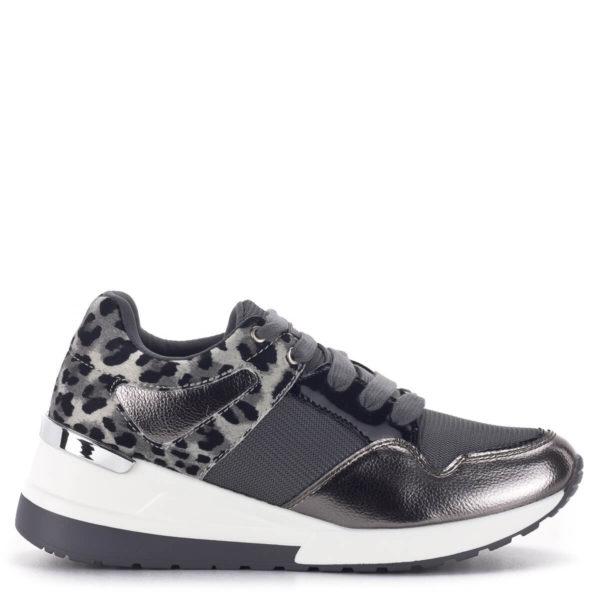 Szürke Menbur női sneakers emelt sarokkal. Fűzős platformos tornacipő 3