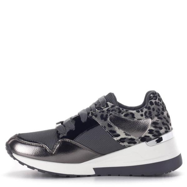 Szürke Menbur női sneakers emelt sarokkal. Fűzős platformos tornacipő 4