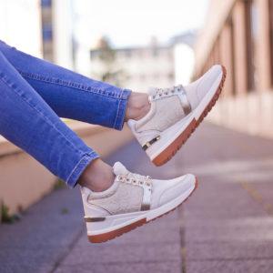 Menbur platformos sneakers fehér-arany színben 10