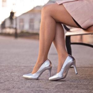 Carla Ricci platformos női magassarkú cipő ezüst színben 10