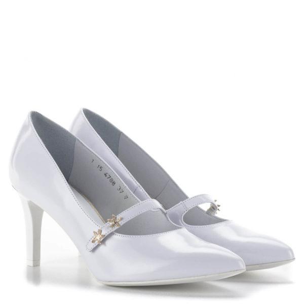 Anis fehér pántos magassarkú menyasszonyi cipő bőr béléssel 1