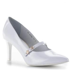 Anis fehér pántos magassarkú menyasszonyi cipő bőr béléssel 2
