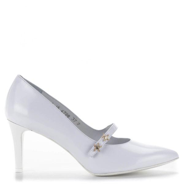 Anis fehér pántos magassarkú menyasszonyi cipő bőr béléssel 3
