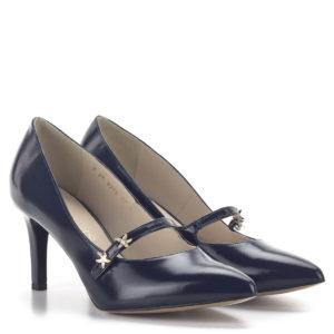 Anis kék pántos magassarkú alkalmi cipő bőr béléssel 1