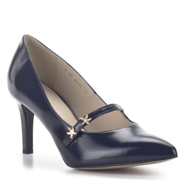 Anis kék pántos magassarkú alkalmi cipő bőr béléssel 2