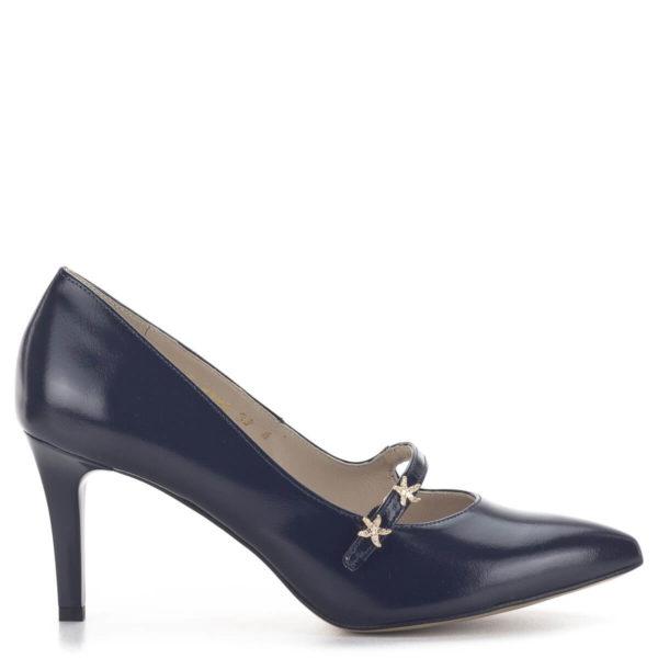 Anis kék pántos magassarkú alkalmi cipő bőr béléssel 3