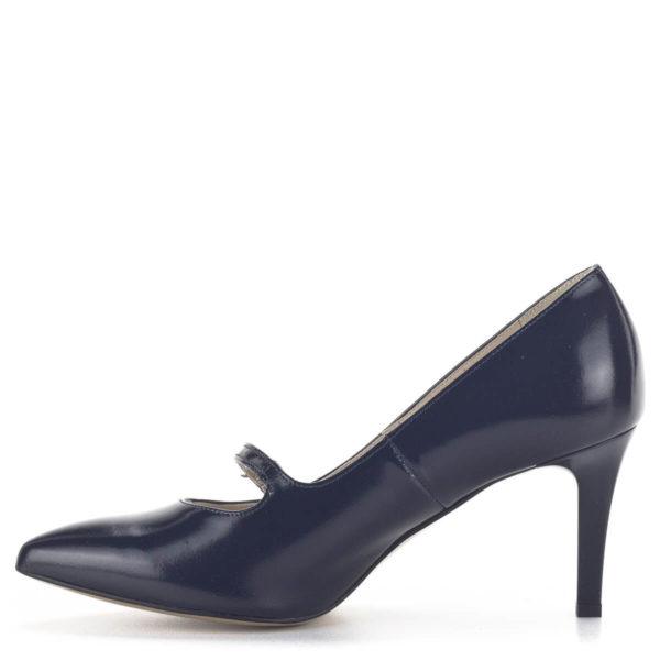 Anis kék pántos magassarkú alkalmi cipő bőr béléssel 4