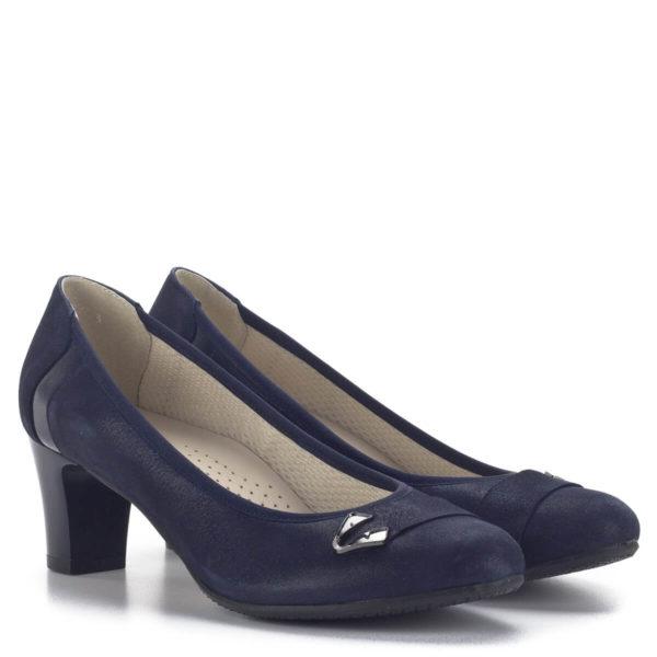 Közepes sarkú Anis bőr alkalmi cipő kék színben, bőr béléssel 1