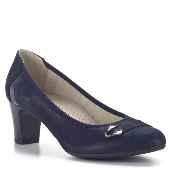 Közepes sarkú Anis bőr alkalmi cipő kék színben, bőr béléssel 2