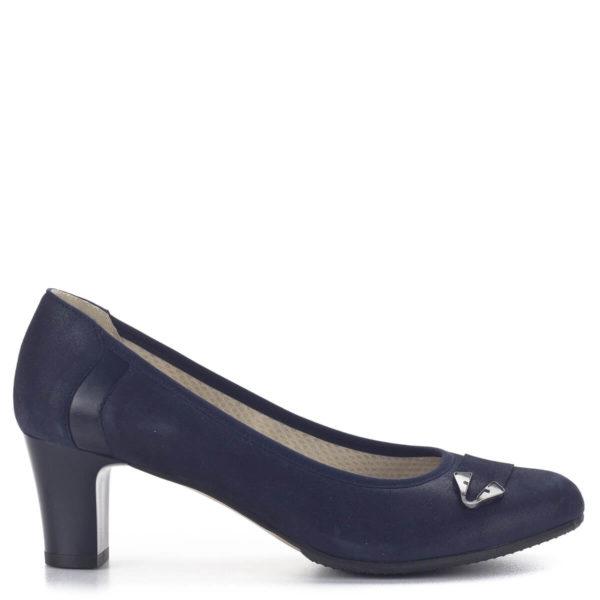 Közepes sarkú Anis bőr alkalmi cipő kék színben, bőr béléssel 3