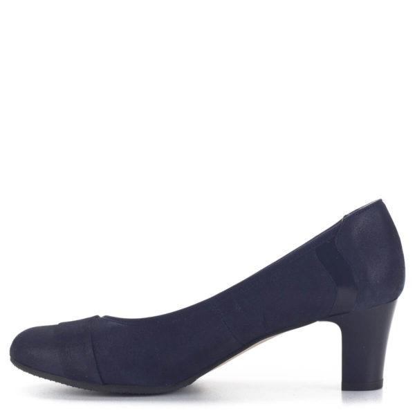 Közepes sarkú Anis bőr alkalmi cipő kék színben, bőr béléssel 4