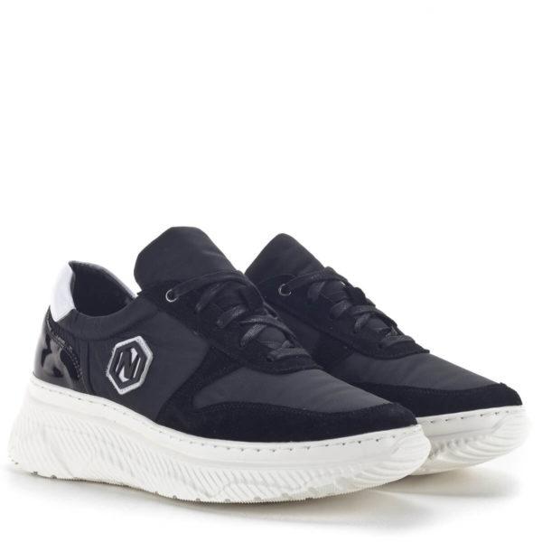 Fekete női sneakers cipő vastag gumi talppal és bőr béléssel - Nescior 1
