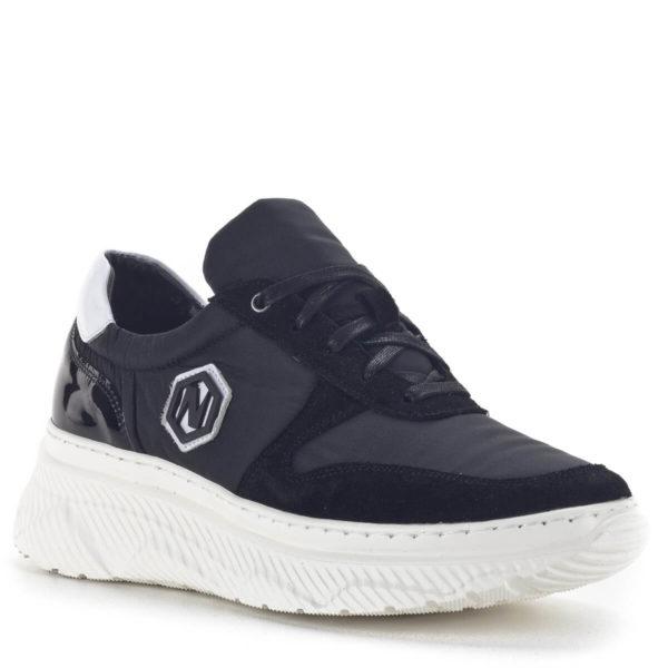 Fekete női sneakers cipő vastag gumi talppal és bőr béléssel - Nescior 2