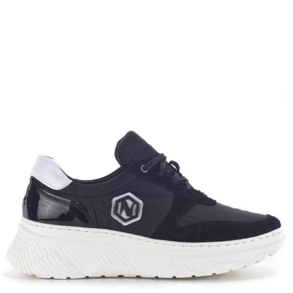 Fekete női sneakers cipő vastag gumi talppal és bőr béléssel - Nescior 3