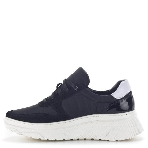 Fekete női sneakers cipő vastag gumi talppal és bőr béléssel - Nescior 4