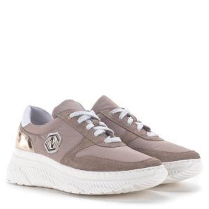 Púderrózsaszín női sneakers fehér gumi talppal, bőr béléssel - Nescior 1
