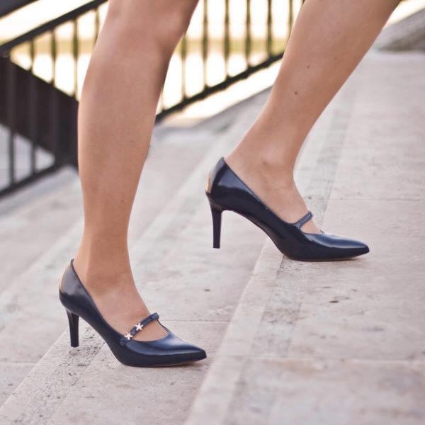 Anis kék pántos magassarkú alkalmi cipő bőr béléssel 10