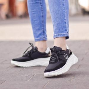 Fekete női sneakers cipő vastag gumi talppal és bőr béléssel - Nescior 10