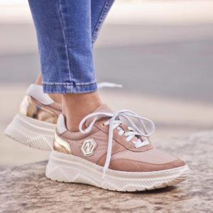 Púderrózsaszín női sneakers fehér gumi talppal, bőr béléssel - Nescior 10