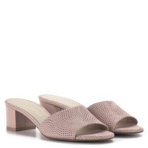 Rózsaszín Anis női bőr papucs 5 cm-es kényelmes sarokkal