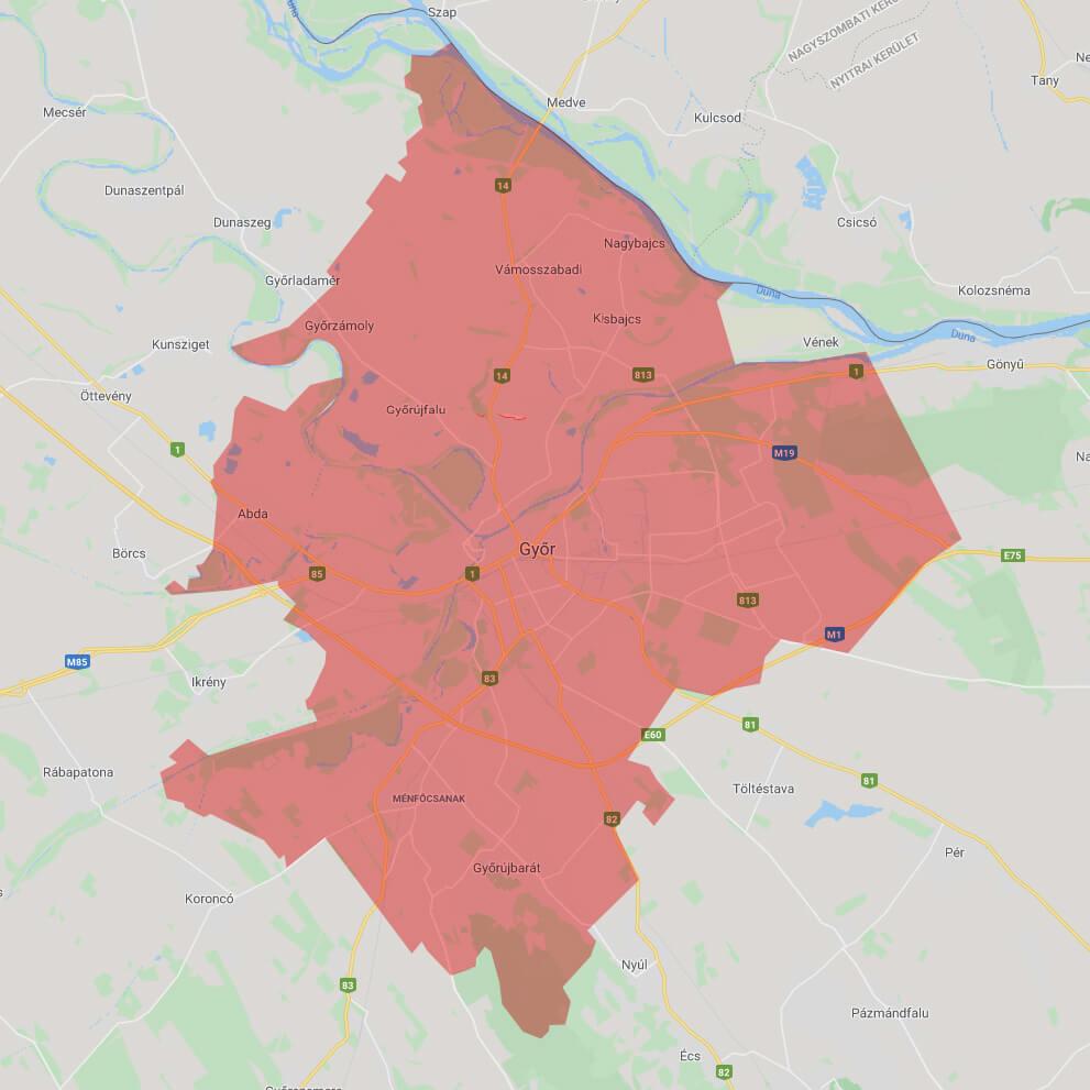 Ingyenes cipő ki- és visszaszállítás szolgáltatási terület, Győr és környéke