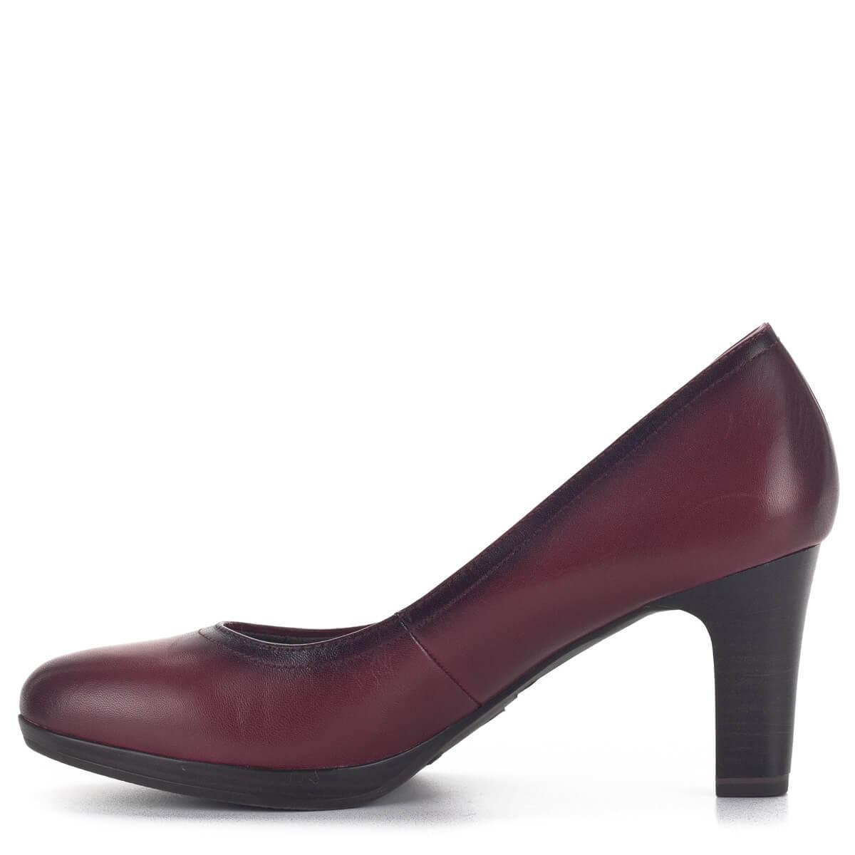 Tamaris cipő Bordó bőr magassarkú Tamaris cipő 1 22410