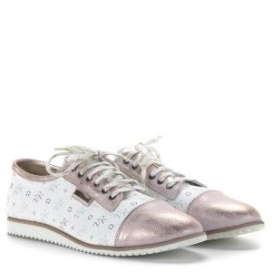 Via Roma női cipő mintás bőr felsőrésszel rozé részekkel - 16/49 ROSA/95