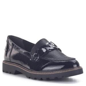 Tamaris cipő lapos talppal, fekete lakk loafer - Tamaris 1-24312-25 098